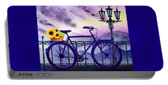 Blue Bicycle And Sunflowers By Irina Sztukowski  Portable Battery Charger