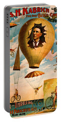 Portable Battery Charger featuring the photograph Bicycle Parachute Act 1896 by Padre Art