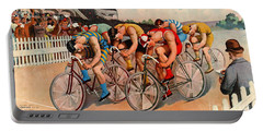 Bicycle Race 1895 Portable Battery Charger by Padre Art
