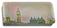Big Ben Against A Watercolor Sky Portable Battery Charger
