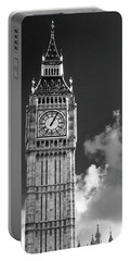 Big Ben And Clouds Bw Portable Battery Charger