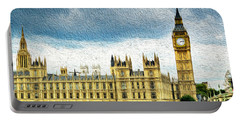Big Ben And Houses Of Parliament With Thames River Portable Battery Charger