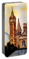 Big Ben And London Eye - Art By Dora Hathazi Mendes Portable Battery Charger by Dora Hathazi Mendes