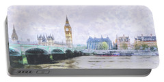 Big Ben And Westminster Bridge London England Portable Battery Charger
