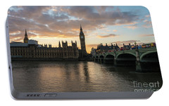 Big Ben London Sunset Portable Battery Charger by Mike Reid