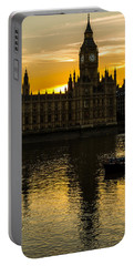 Big Ben Tower Golden Hour In London Portable Battery Charger