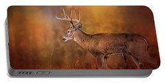 Big Buck In Autumn White Tailed Deer Art Portable Battery Charger by Jai Johnson