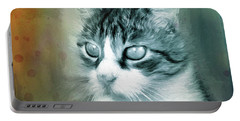 Portable Battery Charger featuring the digital art Big Eyes by Jutta Maria Pusl