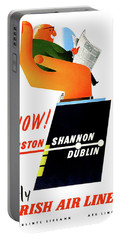 Big Hand, Fly Irish Air Lines, Travel Poster Portable Battery Charger
