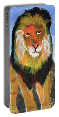 Portable Battery Charger featuring the painting Big Lion King by Donald J Ryker III