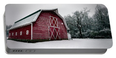 Big Red Barn In Snow Portable Battery Charger