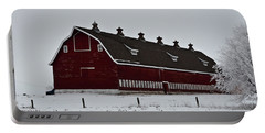 Big Red Barn In The Winter Portable Battery Charger