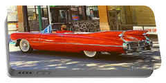Big Red Cadillac Convertible Summer In The City Portable Battery Charger