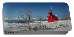 Big Red Lighthouse In Winter Portable Battery Charger by Randall Nyhof