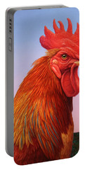 Big Red Rooster Portable Battery Charger by James W Johnson