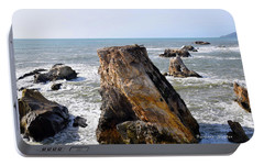 Portable Battery Charger featuring the photograph Big Rocks In Grey Water by Barbara Snyder