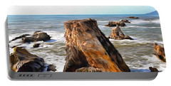 Portable Battery Charger featuring the photograph Big Rocks In Grey Water Painting by Barbara Snyder