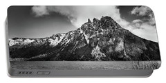 Big Snowy Mountain In Black And White Portable Battery Charger