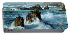 Big Sur Winter Wave Action Portable Battery Charger by Amelia Racca