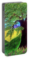 Portable Battery Charger featuring the painting Big Tree In Meadow by Sonya Nancy Capling-Bacle