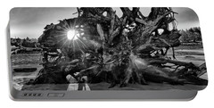 Big Tree On The Beach At Sunrise In Monochrome Portable Battery Charger