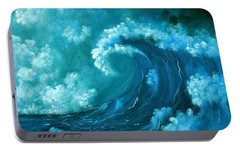 Portable Battery Charger featuring the painting Big Wave by Anastasiya Malakhova