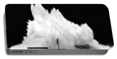 Big Wave Breaking On Breakwater Portable Battery Charger