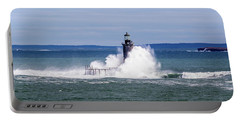 Big Wave Hits Ram Island Ledge Light Portable Battery Charger