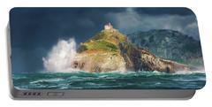Big Waves Over San Juan De Gaztelugatxe Portable Battery Charger