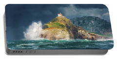 Big Waves Over San Juan De Gaztelugatxe Portable Battery Charger