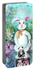 Big White Rabbit And Teddy Bears In A Flower Shop Portable Battery Charger