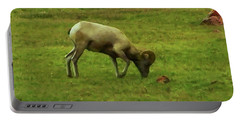 Portable Battery Charger featuring the digital art Bighorn Sheep Grazing by Chris Flees