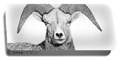 Portable Battery Charger featuring the photograph Bighorn Sheep Ram Black And White by Jennie Marie Schell