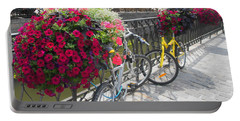 Portable Battery Charger featuring the photograph Bike And Flowers by Therese Alcorn