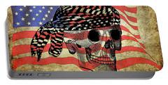 Biker Skull American Flag Old Paper Art Portable Battery Charger