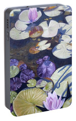 Portable Battery Charger featuring the painting Biltmore Lilypads by Robert Decker