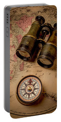 Binoculars And Compass On Map Portable Battery Charger