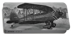 Biplane In Black And White Portable Battery Charger