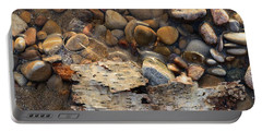 Birch Bark And Ice In The Creek Four  Portable Battery Charger