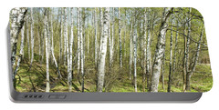 Birch Forest In Spring Portable Battery Charger