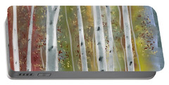 Portable Battery Charger featuring the digital art Birch Forest by Paula Brown