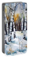 The White Of Winter Birch Portable Battery Charger