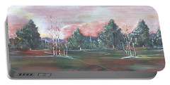 Portable Battery Charger featuring the painting Birch Grove by Pat Purdy