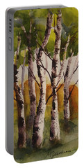 Portable Battery Charger featuring the painting Birch by Marilyn Jacobson