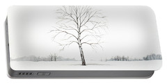 Birch Tree Upon The Winter Plain Portable Battery Charger