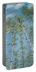 Birch Trees And Sky Portable Battery Charger