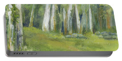 Birch Trees And Spring Field Portable Battery Charger