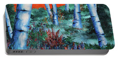 Birch Trees At Sunset Portable Battery Charger