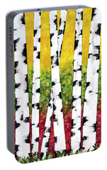 Portable Battery Charger featuring the mixed media Birch Forest Trees by Christina Rollo