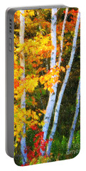 Birch Trees Portable Battery Charger by Verena Matthew